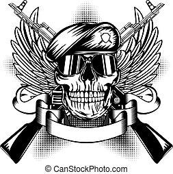 Vector illustration two Kalashnikov guns, wings and skull in beret