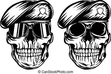 Skull in beret - Vector illustration skull in beret