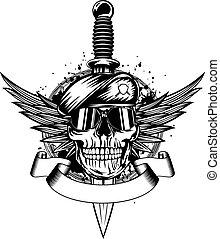 Skull in beret, wings and dagger - Vector illustration...