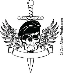 Skull in beret with dagger and wings