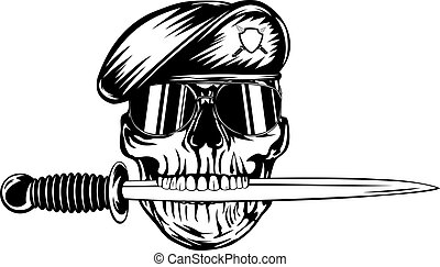 Skull in beret with dagger - Vector illustration skull in...