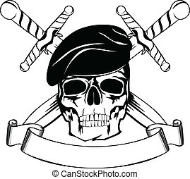 Skull in beret with the crossed daggers