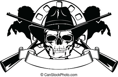 Skull in black hat