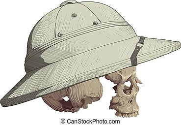 Skull in Cork Helmet - human skull in profile without...