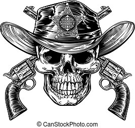 Skull in Cowboy Sheriff Hat with Pistols