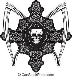 skull in cross - Vector image of human skull in cross and...