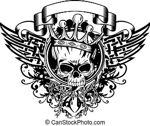 skull in crown and abstract patterns