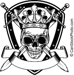 skull in crown board and crossed swords - Vector...