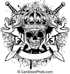 Vector illustration of abstract blazon with skull in crown, crossed swords, heraldic lions and an ornament