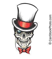 Skull in cylinder hat with monocle and bow tie. vector...
