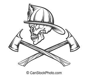 Skull in Fire Helmet and Axes - Firefighter skull in helmet...