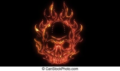 Skull in fire laser animation - Skull with flames and fire
