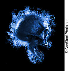 skull in fire - scary background