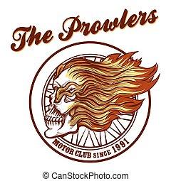Skull in flames Biker club Emblem