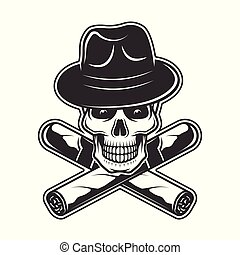 Skull in gangster hat and two crossed cigars