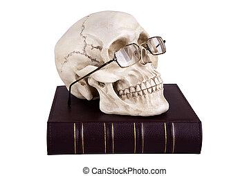 Skull in glasses on book