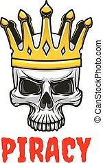 Skull in golden king crown cartoon symbol