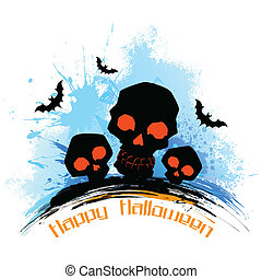 Skull in grungy Halloween Background