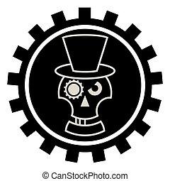Skull in Hat cylindre - Skull in Hat cylindre . Isolated on...