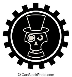 Skull in Hat cylindre . Isolated on white