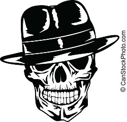 skull in hat gangster - Vector image of skull in hat -...