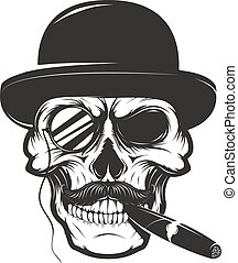 Skull in hat with cigar and monocle. Design element for logo, la