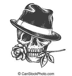 Skull in hat with rose flower in the mouth vector...