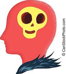 Skull in head cartoon doodle
