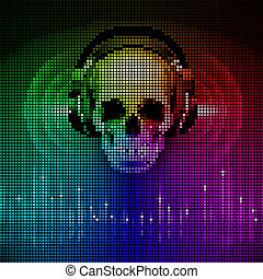 Skull in headphones. Disco background