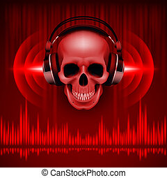 Skull in headphones. Disco background - Disco background...