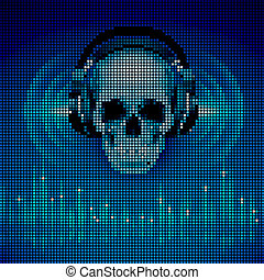 Skull in headphones. LED disco background