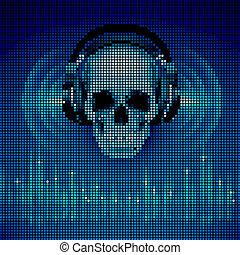 Skull in headphones. LED disco background