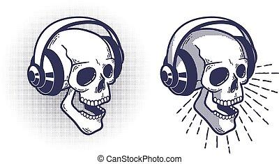 Skull in headphones. Retro stamp style.