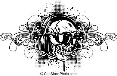 skull in headphones, sunglasses and patterns