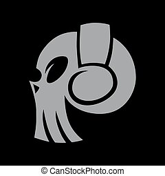 Skull in headphones symbol, icon