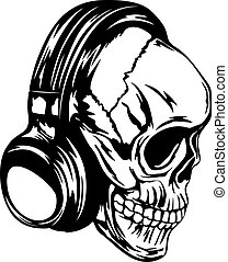 skull in headphones