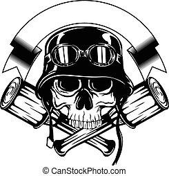 skull in helmet and crossed grenade