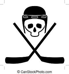 Skull in helmet and crossed hockey sticks. Black and white...