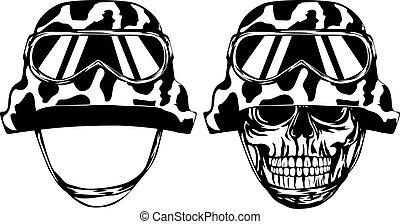 Skull in helmet and helmet