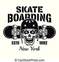 Skull in helmet and skateboard vector emblem