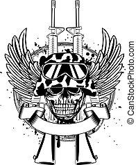 Skull in helmet and two guns