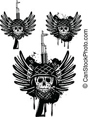skull in helmet automatic machine - Vector image of skull in...