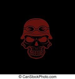 skull in helmet, biker theme vector design template