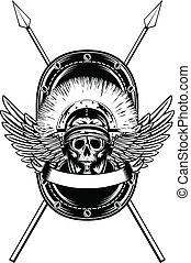 skull in helmet crossed spears - Vector image skull in...