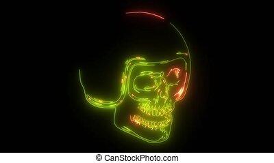 skull in helmet digital animation - skull in helmet laser...