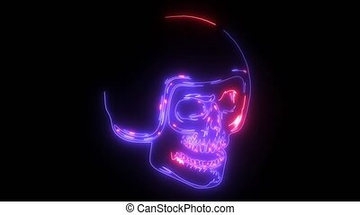 skull in helmet digital animation - skull in helmet laser...