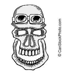 Skull in helmet - Skull emblem motorcycle helmet and ...