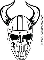 skull in helmet Vikings 2 - The vector image a skull in an...