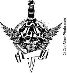 Skull in helmet, wings and dagger