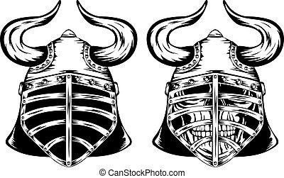 Skull in helmet with horns